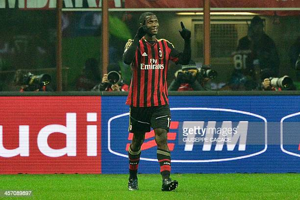 AC Milan's Colombian defender Cristian Zapata celebrates after scoring during the Serie A football match between AC Milan and Roma at San Siro...
