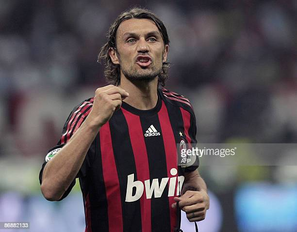 AC Milan's defender and captain Paolo Maldini gestures during his team's Italian Serie A football match against Juventus on May 10 2009 at San Siro...