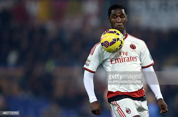 AC Milan's defender from Colombia Cristian Zapata controls the ball against Roma during Serie A football match in Rome's Olympic Stadium on December...