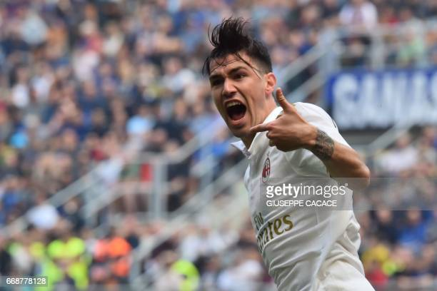 AC Milan's defender from Italy Alessio Romagnoli celebrates after scoring during the Italian Serie A football match Inter Milan vs AC Milan at 'San...