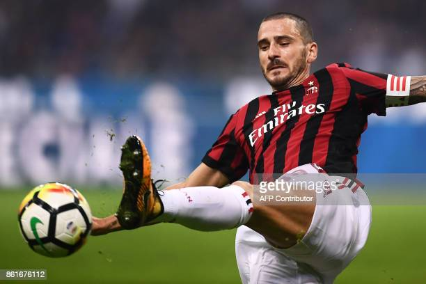 AC Milan's defender Leonardo Bonucci controls the ball during the Italian Serie A football match Inter Milan Vs AC Milan on October 15 2017 at the...