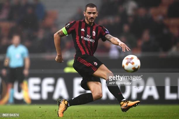 AC Milan's defender Leonardo Bonucci from Italy kicks the ball during the UEFA Europa League football match AC Milan vs AEK Athens at the 'San Siro...