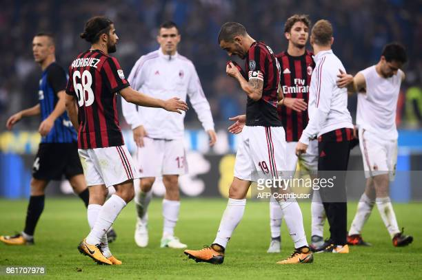 AC Milan's defender Leonardo Bonucci from Italy reacts at the end of the Italian Serie A football match Inter Milan Vs AC Milan on October 15 2017 at...