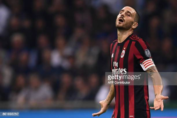 AC Milan's defender Leonardo Bonucci from Italy reacts during the Italian Serie A football match Inter Milan Vs AC Milan on October 15 2017 at the...
