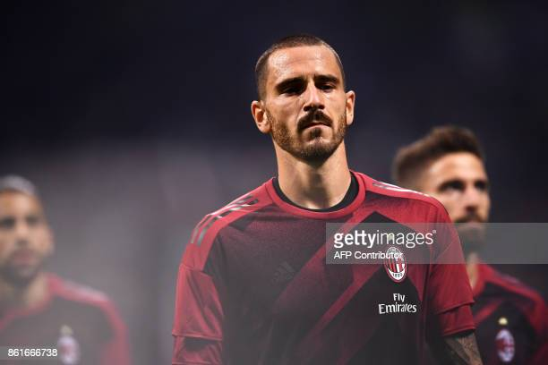 AC Milan's defender Leonardo Bonucci warms up before the Italian Serie A football match Inter Milan Vs AC Milan on October 15 2017 at the 'San Siro...