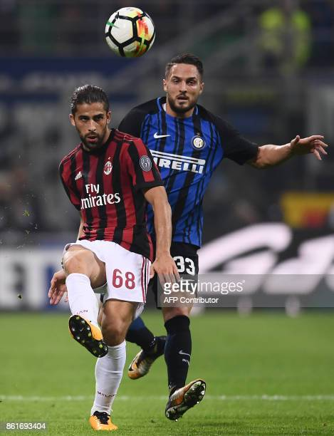 AC Milan's defender Ricardo Rodriguez from Switzerland fights for the ball with Inter Milan's defender Danilo D'Ambrosio during the Italian Serie A...