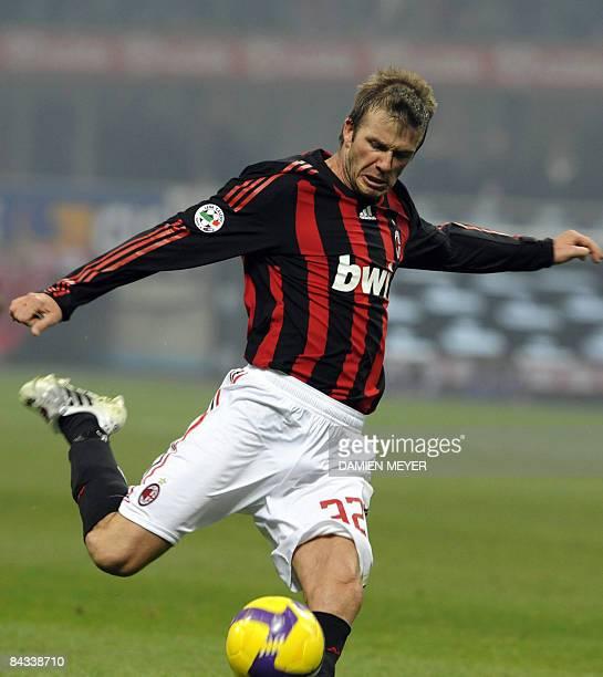 AC Milan's English midfielder David Beckham kicks the ball during his team's Italian Serie A match against Fiorentina on January 17 2009 at San Siro...