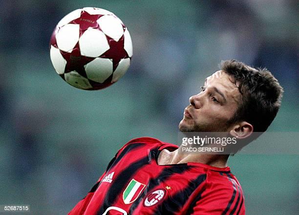 Milan's forward Andriy Shevchenko controls the ball during their Italian serie A football match AC MilanParma at San Siro stadium in Milan 23 April...