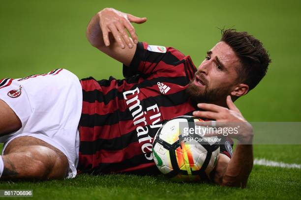 AC Milan's forward Fabio Borini from Italy reacts during the Italian Serie A football match Inter Milan Vs AC Milan on October 15 2017 at the 'San...