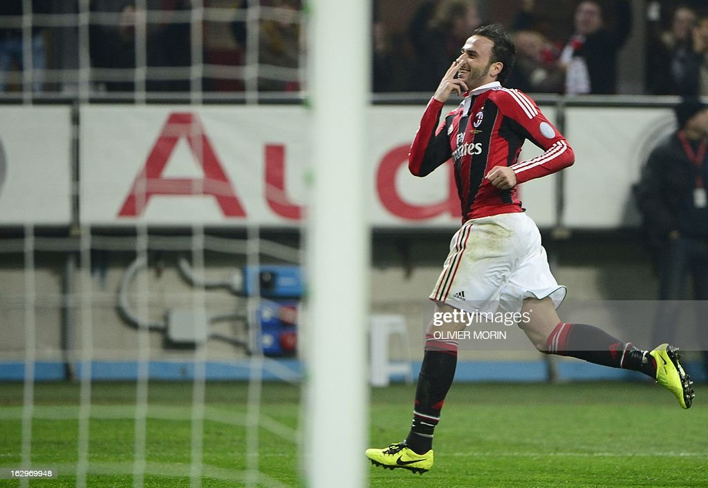 AC Milan's forward Giampaolo Pazzini celebrates after scoring his second goal during the Italian Serie A football match between AC Milan and Lazio on March 2, 2013 at the San Siro stadium in Milan.