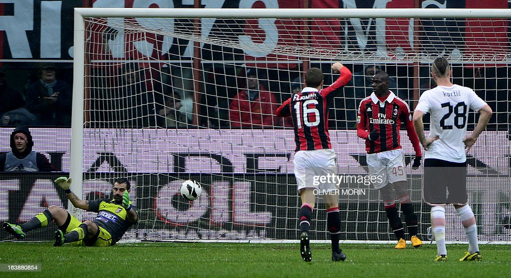 AC Milan's forward Mario Balotelli (2ndR) reacts after scoring during the serie A football match between AC Milan and Palermo, on March 17, 2013 in Milan, at the San Siro stadium.