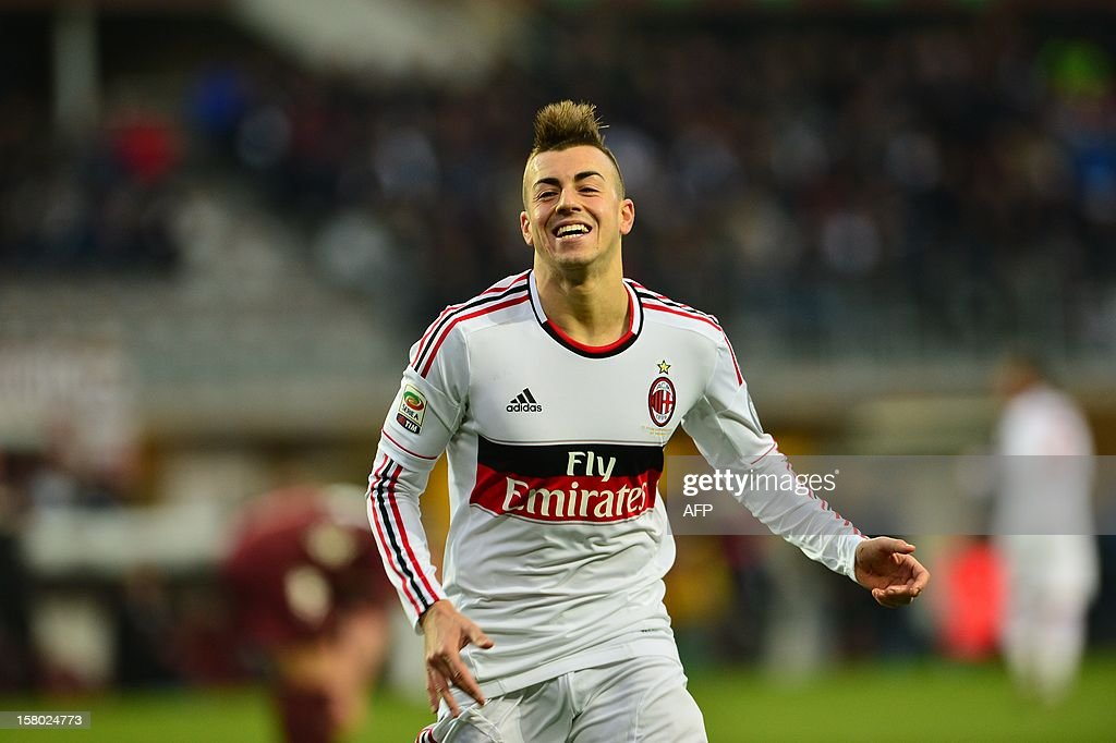 AC Milan's forward Stephan El Shaarawy celebrates after scoring during the Italian Serie A football match between Torino and AC Milan at the Olympic Stadium in Turin on December 9, 2012.