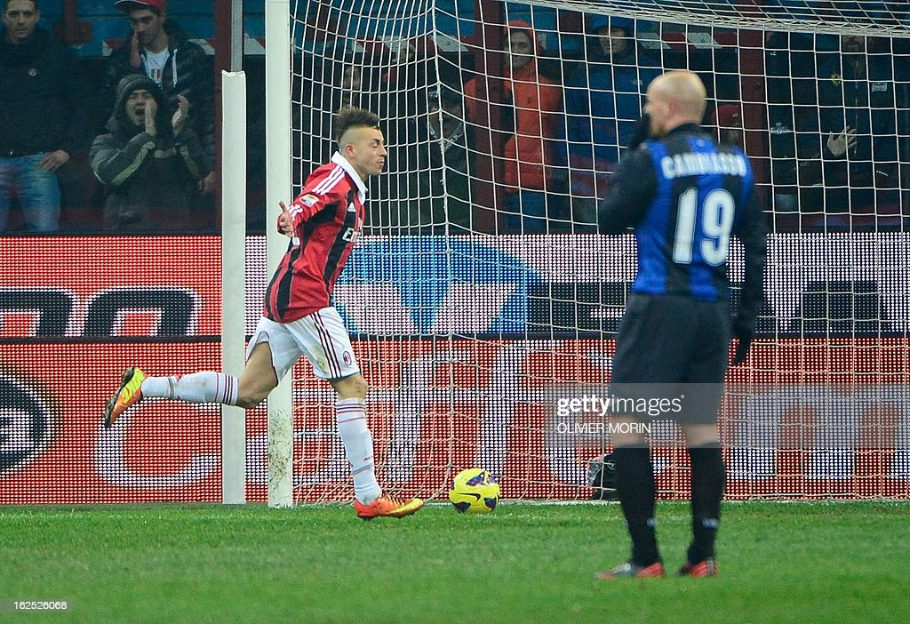AC Milan's forward Stephan El Shaarawy (L) celebrates after scoring during the serie A match between Inter MIlan and AC Milan, on February 24, 2013 in Milan, at the San Siro stadium .