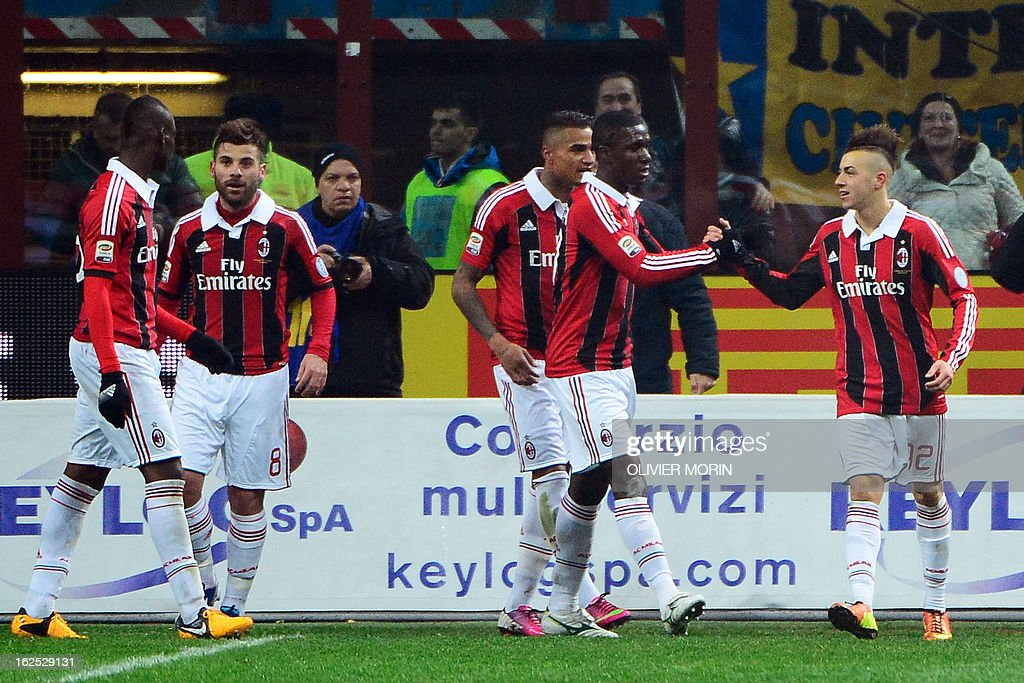 AC Milan's forward Stephan El Shaarawy (R) celebrates after scoring during the Italian serie A football match between Inter Milan and AC Milan on February 24, 2013 in Milan, at the San Siro stadium .