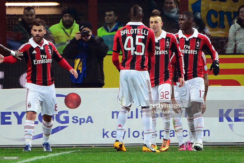 AC Milan's forward Stephan El Shaarawy (2nd R) celebrates with teammates after scoring during the Italian serie A football match between Inter Milan and AC Milan on February 24, 2013 at the San Siro stadium in Milan. AFP PHOTO / OLIVIER MORIN