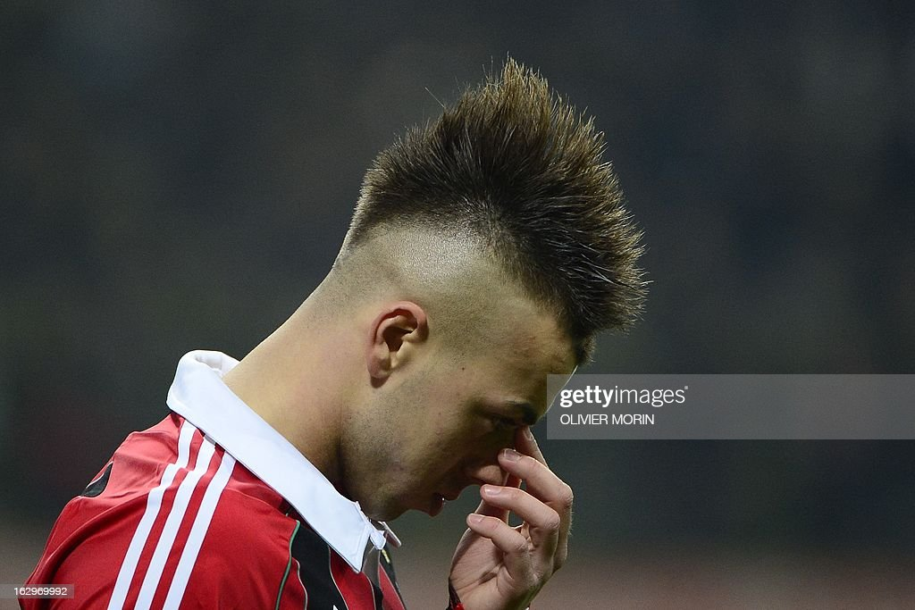 AC Milan's forward Stephan El Shaarawy reacts during the Italian Serie A football match between AC Milan and Lazio on March 2, 2013 at the San Siro stadium in Milan.