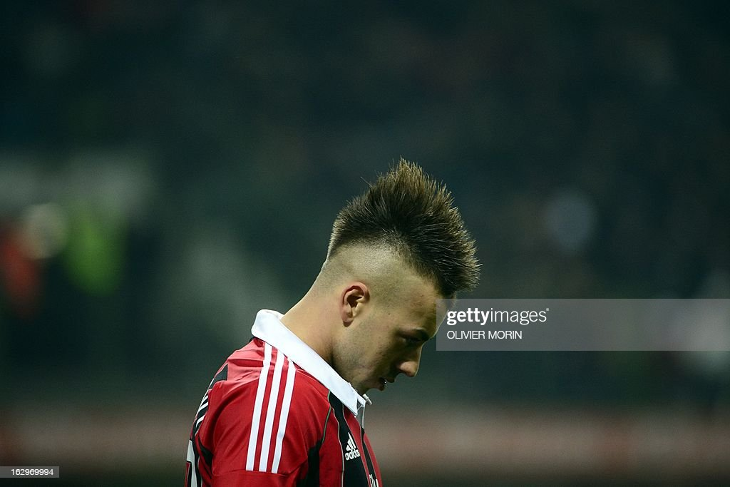 AC Milan's forward Stephan El Shaarawy reacts during the Italian Serie A football match between AC Milan and Lazio on March 2, 2013 at the San Siro stadium in Milan. AFP PHOTO / OLIVIER MORIN