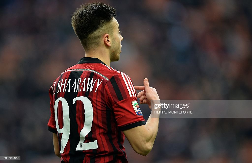 AC Milan's forward <a gi-track='captionPersonalityLinkClicked' href=/galleries/search?phrase=Stephan+El+Shaarawy&family=editorial&specificpeople=7181554 ng-click='$event.stopPropagation()'>Stephan El Shaarawy</a> reacts during the Italian Serie A football match AC Milan vs Atalanta on Jannuary 18, 2015 at San Siro Stadium in Milan. AFP PHOTO / FILIPPO MONTEFORTE