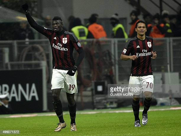 AC Milan's French forward Mbaye Niang celebrates after scoring a goal during the Italian Serie A football match AC Milan vs Sampdoria on November 28...