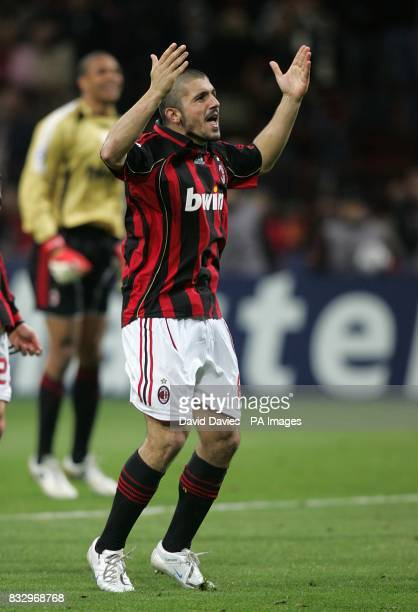 AC Milan's Gennaro Gattuso celebrates at the final whistle after reaching the UEFA Champions League Final