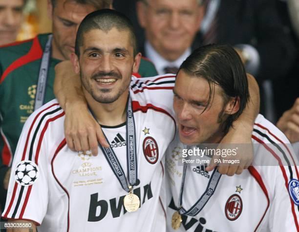 AC Milan's Gennaro Gattuso celebrates winning the Champions league