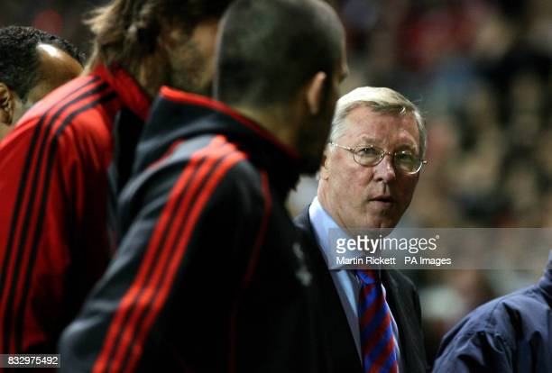 AC Milan's Gennaro Gattuso confronts Manchester United manager Alex Ferguson following the Champions League semifinal first leg match at Old Trafford...