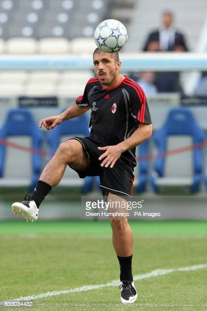 AC Milan's Gennaro Gattuso during a training session at the Athens Olympic Stadium Athens Greece