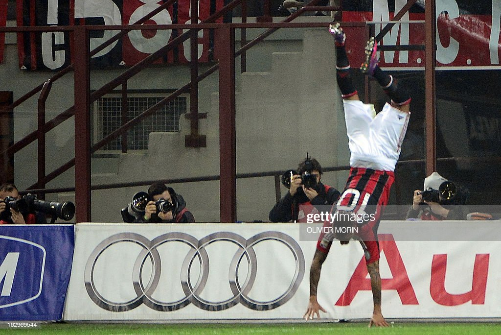 AC Milan's Ghanaian defender Prince Kevin Boateng celebrates after scoring during the Italian Serie A match between AC Milan and Lazio on March 2, 2013 at San Siro Stadium in Milan. AFP PHOTO / OLIVIER MORIN