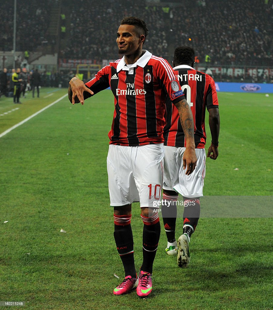 AC Milan's Ghanaian defender Prince Kevin Boateng celebrates scoring during the Champions League football match between AC Milan and FC Barcelona on February 20, 2013 at San Siro Stadium in Milan.