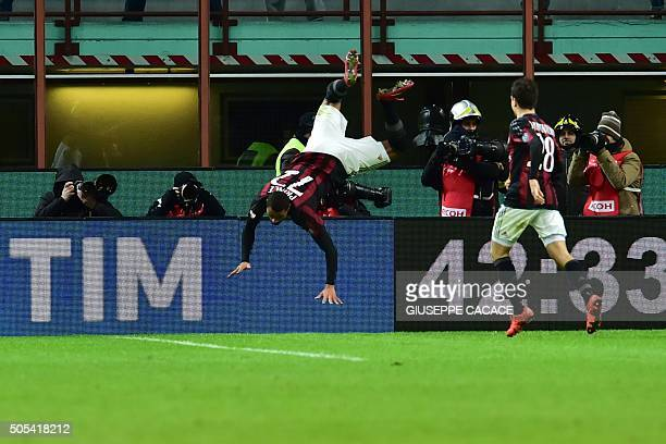 AC Milan's Ghanaian forward KevinPrince Boateng celebrates after scoring a goal during the Serie A football match between AC Milan and Fiorentina at...