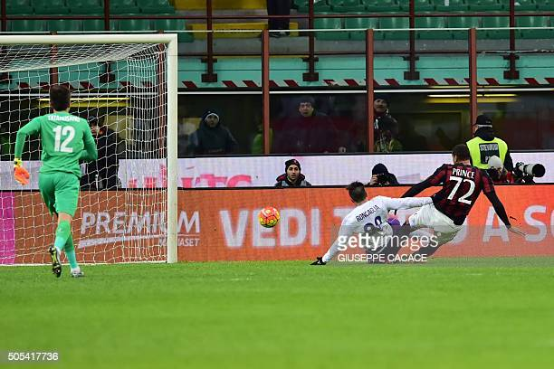 AC Milan's Ghanaian forward KevinPrince Boateng scores during the Serie A football match between AC Milan and Fiorentina at the San Siro Stadium in...