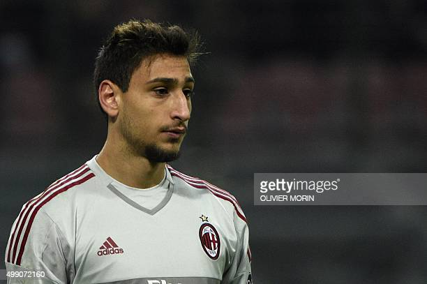 AC Milan's goalkeeper from Italy Gianluigi Donnarumma 16 years old looks on during the Italian Serie A football match AC Milan vs Sampdoria on...