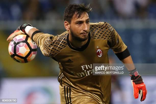 AC Milan's goalkeeper Gianluigi Donnarumma throws the ball during the Italian Serie A football match between Sampdoria and AC Milan on September 16...