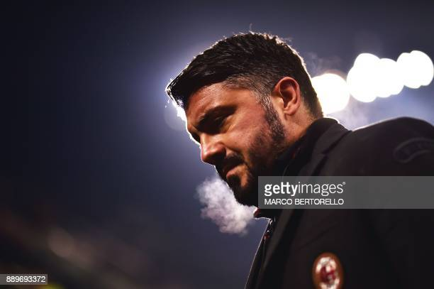 AC Milan's head coach Gennaro Gattuso looks on during the Italian Serie A football match AC Milan Vs Bologna on December 10 2017 at the 'San Siro...