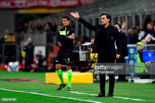 AC Milan's Italian coach Vincenzo Montella gestures during the Italian Serie A football match AC Milan vs AS Roma at the San Siro stadium in Milan on...