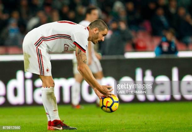 Milan's Italian defender Leonardo Bonucci prepares to kick the ball during the Italian Serie A football match SSC Napoli vs AC Milan on November 18...
