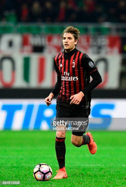AC Milan's Italian midfielder Manuel Locatelli controls the ball during the Italian Serie A football match AC Milan versus Genoa on March 18 2017 at...