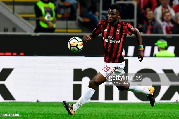 AC Milan's Ivoirian midfielder Franck Kessie' controls the ball during the Italian Serie A football match AC Milan vs AS Roma at the San Siro stadium...
