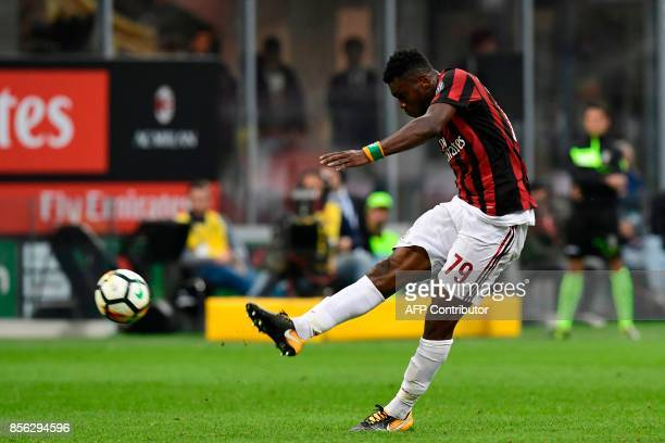 AC Milan's Ivoirian midfielder Franck Kessie' kicks the ball during the Italian Serie A football match AC Milan vs AS Roma at the San Siro stadium in...