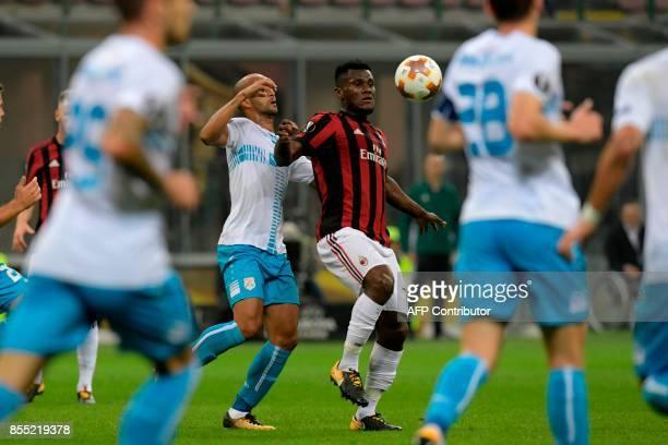 AC Milan's Ivoirian midfielder Frank Kessie controls the ball during the UEFA Europa League football match AC Milan vs HNK Rijeka at the San Siro...