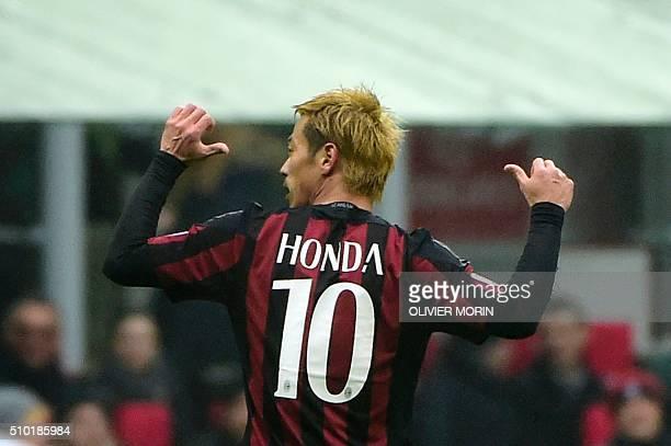 AC Milan's Japanese midfielder Keisuke Honda celebrates after scoring during the Italian Serie A football match AC Milan vs Genoa on February 14 2016...