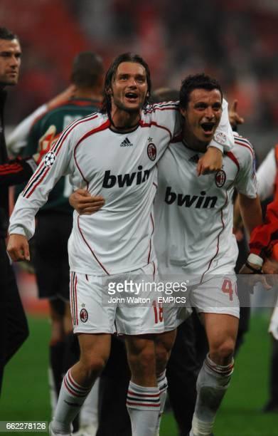 AC Milan's Marek Jankulovski and Massimo Oddo celebrate victory
