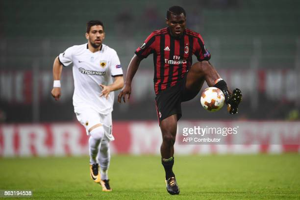 AC Milan's midfielder Franck Kessie from Ivory Coast controls the ball during the UEFA Europa League football match AC Milan vs AEK Athens at the...