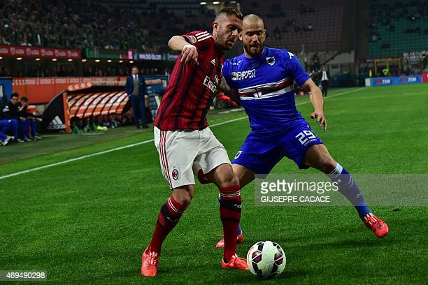 AC Milan's midfielder from France Jeremy Menez fights for the ball with Sampdoria's defender Lorenzo De Silvestri during the Italian Serie A football...