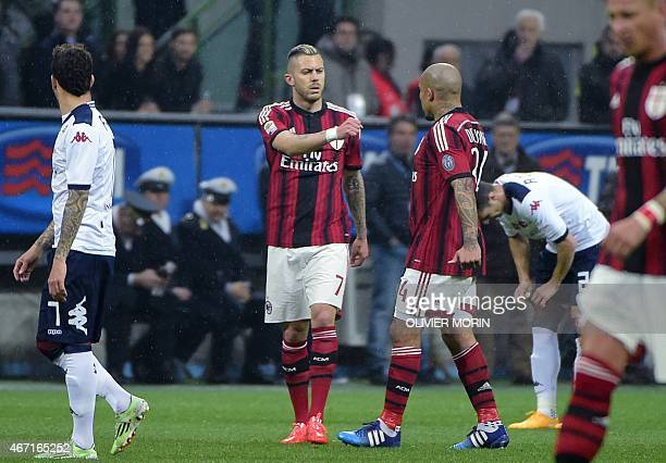 AC Milan's midfielder from France Jeremy Menez reacts after scoring during the Italian Serie A football match AC Milan vs Cagliari on March 21 2015...