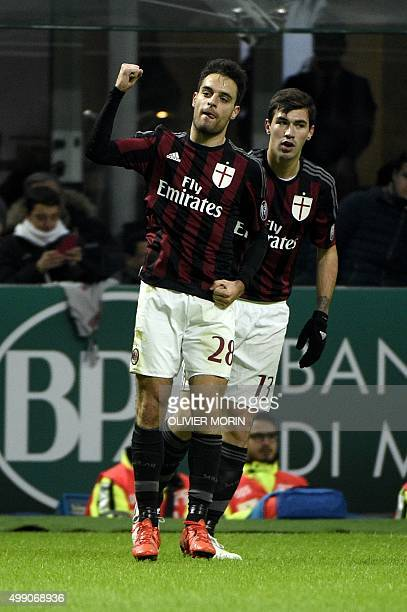 AC Milan's midfielder from Italy Giacomo Bonaventura celebrates after scoring a goal during the Italian Serie A football match AC Milan vs Sampdoria...