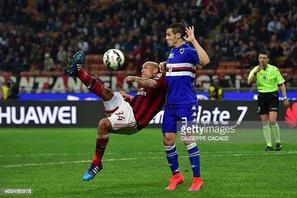 AC Milan's midfielder from Netherlands Nigel de Jong kicks and scores next to Sampdoria's defender Djamel Mesbah during the Italian Serie A football...