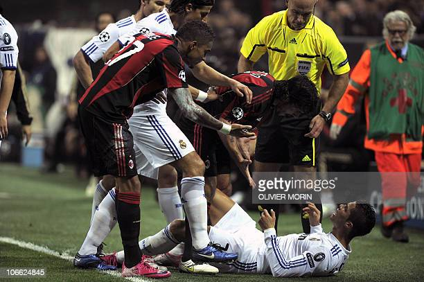 AC Milan's midfielder Gennaro Ivan Gattuso argues with Real Madrid's Portuguese forward Cristiano Ronaldo during their Champions League Group G...