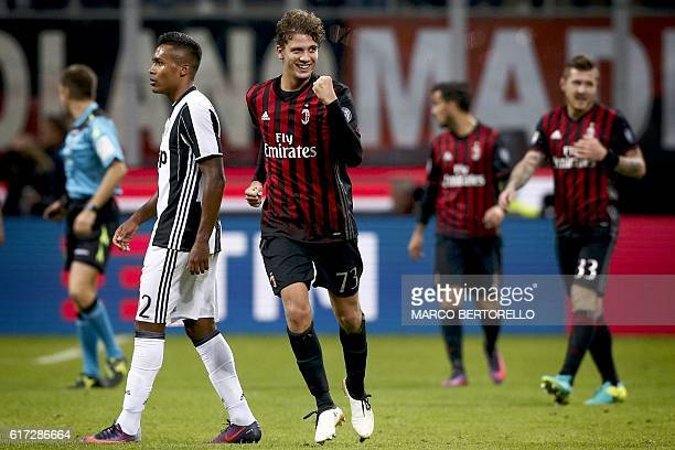 AC Milan's midfielder Manuel Locatelli celebrates after scoring a goal during the Italian Serie A football match AC Milan versus Juventus on October...