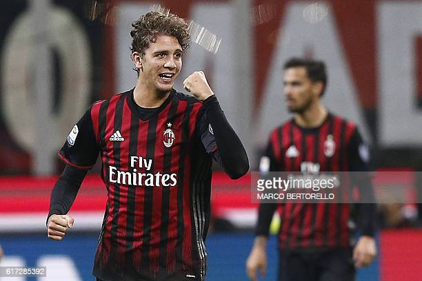 AC Milan's midfielder Manuel Locatelli celebrates after scoring during the Italian Serie A football match AC Milan versus Juventus on October 22 2016...